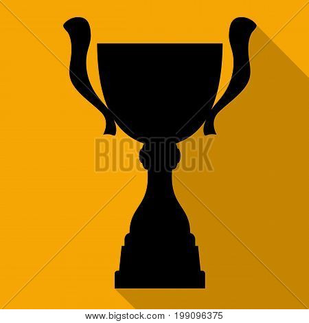 Champion cup in flat style with shadow. Championship prize for first place. Victory symbol. Vector illustration.