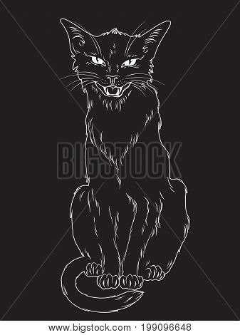 Hand Drawn Black Cat Isolated Over Black Background. Wiccan Familiar Spirit, Pagan Witchcraft Theme