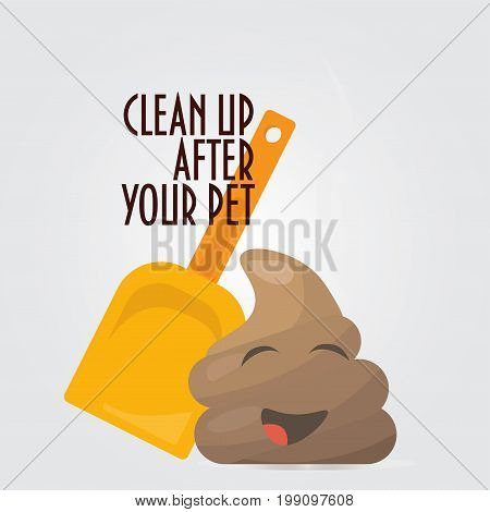 Clean Up After Your Pet vector illustration. Great as a sign promoting picking up poo or shit after pets.