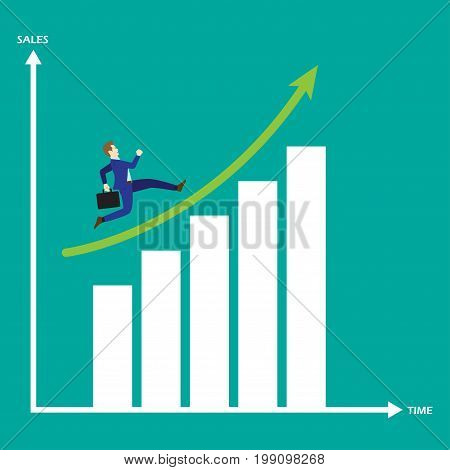 Business Concept As A Businessman Is Running On Growth Bar Graph. He Is Enjoying The New Growth Of Opportunity With Full Motivation & Encouragement. Higher Sales Corresponds With Time Passes By.