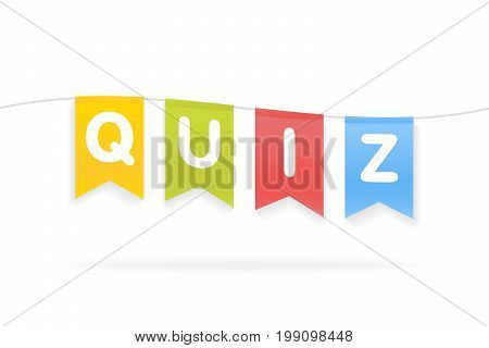 Vector Illustration Of Quiz Word On Pennants On Rope