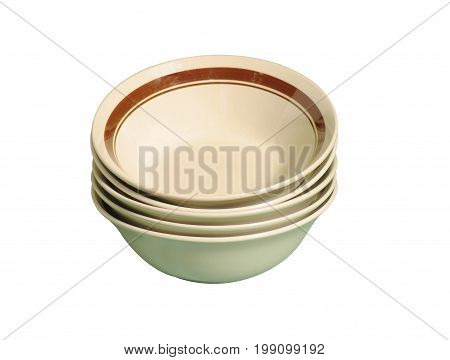 BEIGE AND BROWN SOUP PLATES, ISOLATED ON A WHITE BACK GROUND