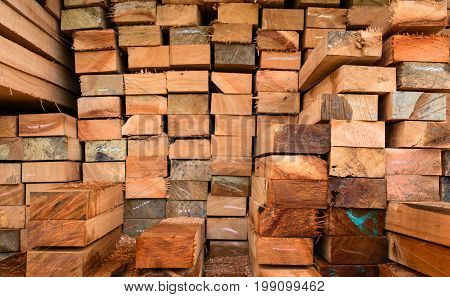 Timber Transport Truck Park Waiting For Inspection