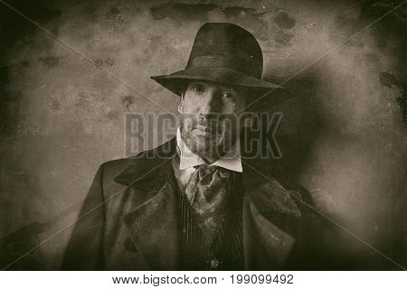 Classic Wet Plate Photo Of Vintage Western Man With Beard Against Wall.
