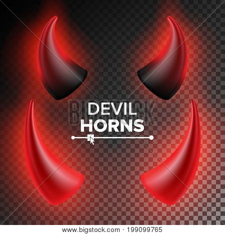 Devils Horns Vector. Red Luminous Horn. Isolated On White Background Illustration. Halloween Evil Horns. Transparent