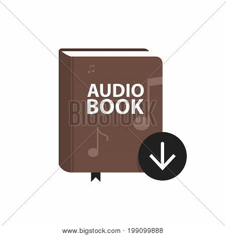 Audio Book Icon With Download Arrow Button. Online Digital Library Concept. Vector Illustration