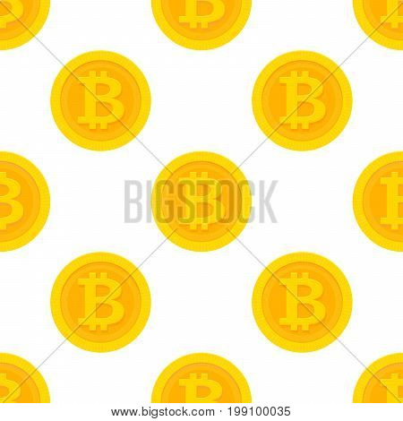 Golden Bitcoin Seamless Pattern For Cryptocurrency, Virtual Currency, Digital Money, Ecash. Vector I