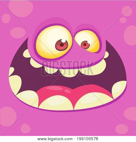 Cartoon monster face. Vector Halloween pink monster avatar with wide smile. Prints design for t-shirts