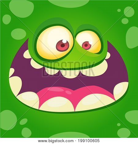 Cartoon monster face isolated . Vector Halloween happy monster square avatar. Funny monster mask