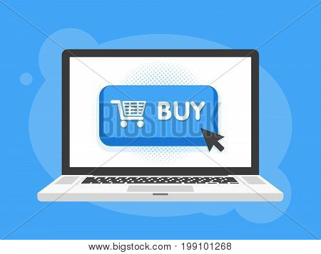Modern Buy Button Design With Mouse Click Symbol In Laptop Notebook Computer Screen. Vector Illustra