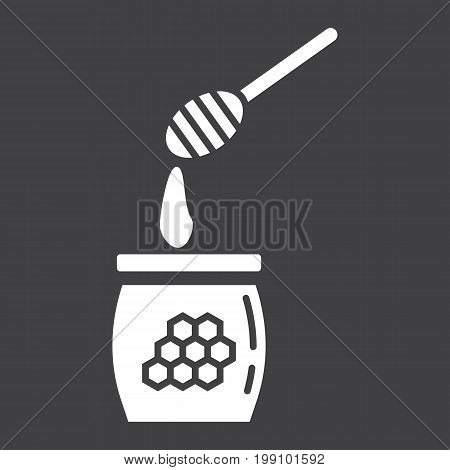Honey ladle glyph icon, food and drink, beehive sign vector graphics, a solid pattern on a black background, eps 10.