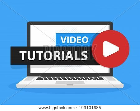 Online Video Tutorials Education Button In Laptop Notebook Computer Screen. Play Lesson Concept. Vec