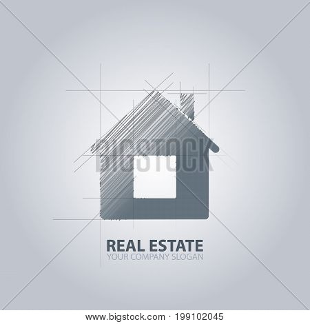 Real estate house logo. Blueprint, gray color. Isolated.
