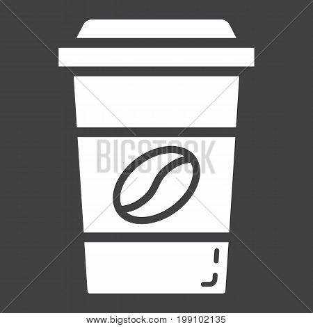 Coffee glyph icon, food and drink, cappuccino sign vector graphics, a solid pattern on a black background, eps 10.