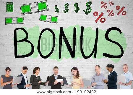 Group Of Diverse People Standing In Front Of Bonus Word