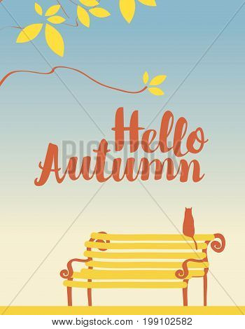 Vector landscape in a retro style on the autumn theme with the inscription Hello autumn with the branches of a tree and a cat on the bench
