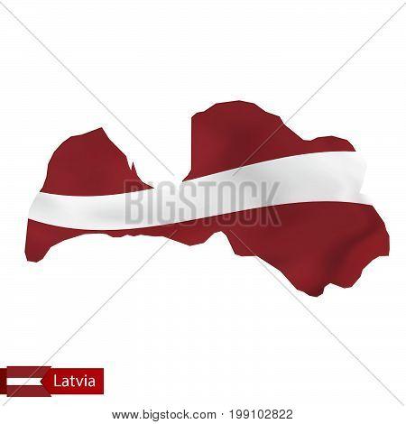 Latvia Map With Waving Flag Of Latvia.