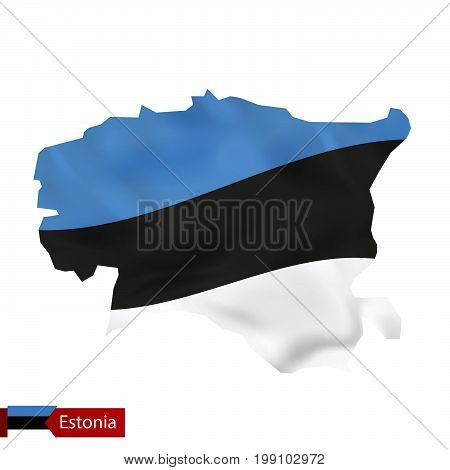 Estonia Map With Waving Flag Of Estonia.