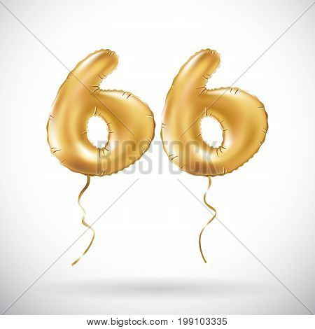 Vector Golden Number 66 Sixty Six Metallic Balloon. Party Decoration Golden Balloons. Anniversary Si