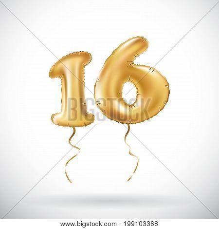 Vector Golden Number 16 Sixteen Metallic Balloon. Party Decoration Golden Balloons. Anniversary Sign