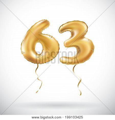 Vector Golden Number 63 Sixty Three Metallic Balloon. Party Decoration Golden Balloons. Anniversary