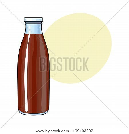 Side view drawing of bottle with chocolate milk, cocoa, sketch vector illustration with space for text. Hand drawn closed bottle of chocolate milk
