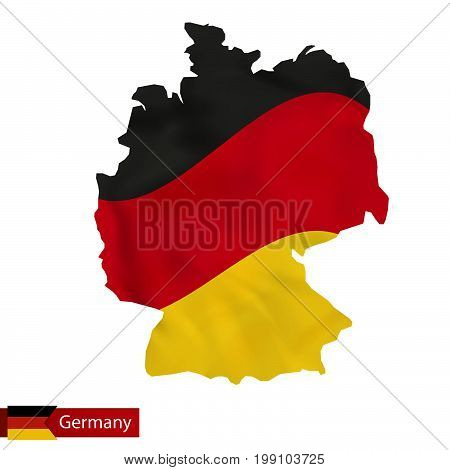 Germany Map With Waving Flag Of Germany.