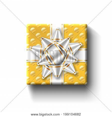 Gift Box Top View Isolated Vector Template