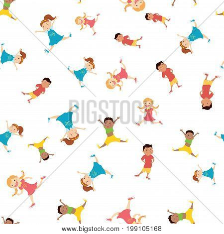 seamless pattern with cartoon kids, white background, stock vector illustration