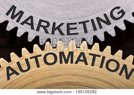 Closeup of marketing automation concept on interlocked cogwheels