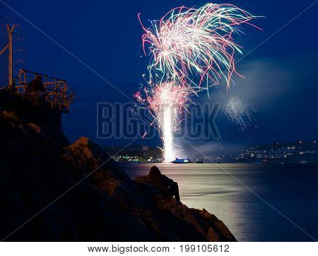 PLYMOUTH, ENGLAND. 9th August 2017. The first night of the British Fireworks Championship 2017. The event is held annually in Plymouth Sound.