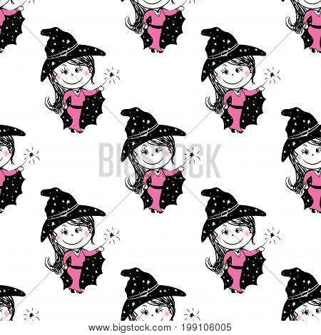Cute fairies seamless pattern. Vector cartoon magic background, great for fabric and textile, wallpapers, cards and banners design