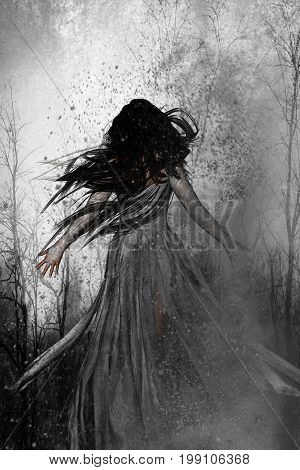 3d illustration of woman lost in the woods,Scary background mixed media