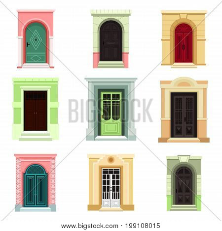 Set of isolated outdoor view on doors with glass. Entrance design for house, icons of old and modern exit or classic entry with doorknob. Architecture and building facade exterior view theme