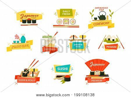 Set of isolated japanese sushi and rolls with wooden chopsticks, uramaki with wasabi sause, makizushi and tea kettle with cups for ceremony, udon soup or rice noodle. Seafood restaurant kitchen