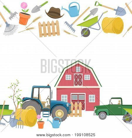 Seamless horizontal borders of farming equipment icons. Farming tools and agricultural machines decoration. Vector