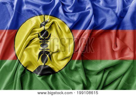 Ruffled waving New Caledonia flag national flag close