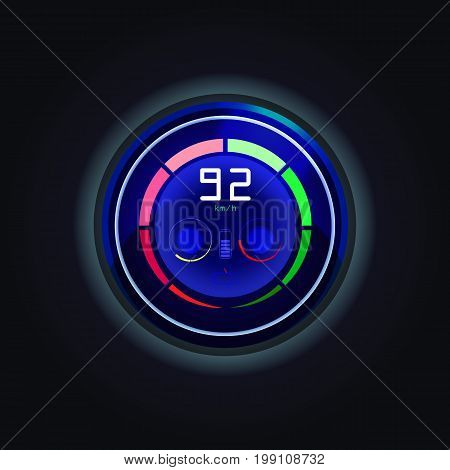 Speedometer with sections for measuring speed of car, battery charge indicator for electric cars, tachometer for vehicle performance. Driver and race, interface icon and control technology theme