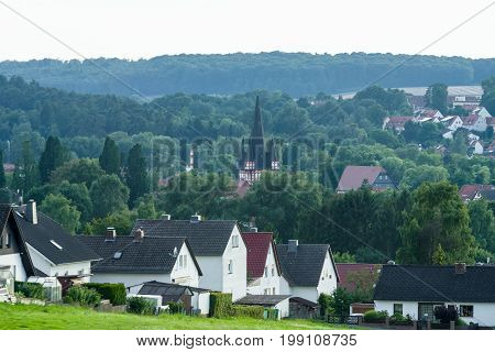 View of the small town of Neustadt (Marburg-Biedenkopf district in Hessen) a suburb and surrounding agricultural land.