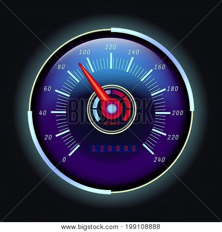 Analog speedometer with arrow and digital odometer or odograph with numbers. Speed measuring gauge for vehicle or transport, truck, round internet speed measuring icon. Race theme