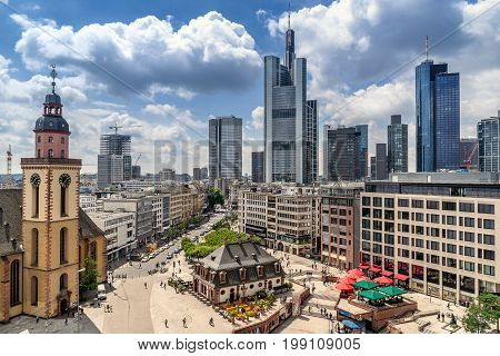 Looking down to the district of Hauptwache in Frankfurt