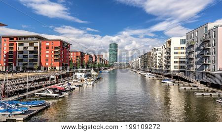 Westhafen marina in Frankfurt Am Main  Germany