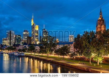 Looking across the Main River to the CBD in Frankfurt AM Main