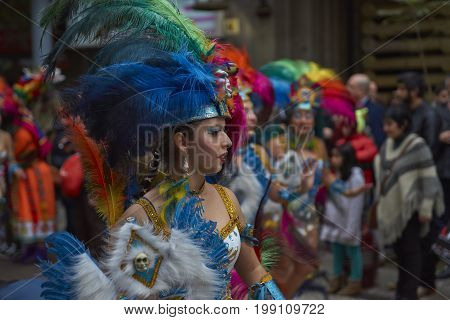 Santiago, Chile - August 5, 2017: Tobas dance group parading through the centre of Santiago, Chile to mark Independence Day of Bolivia.
