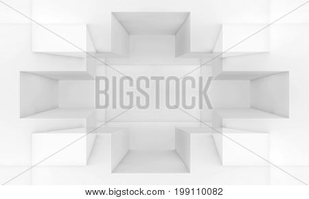 Abstract White Digital Background, 3D Render