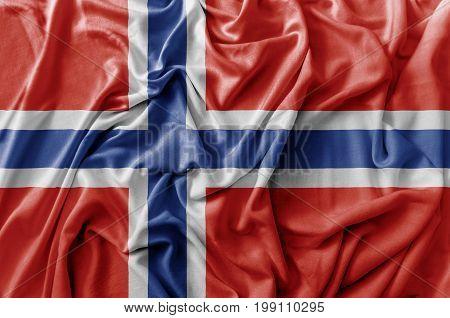 Ruffled waving Norway flag national close up