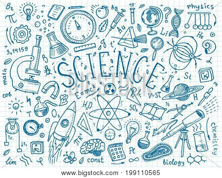 engraved hand drawn in old sketch and vintage style. scientific formulas and calculations in physics and mathematics, chemistry and biology or astronomy on whiteboard. Education and Science
