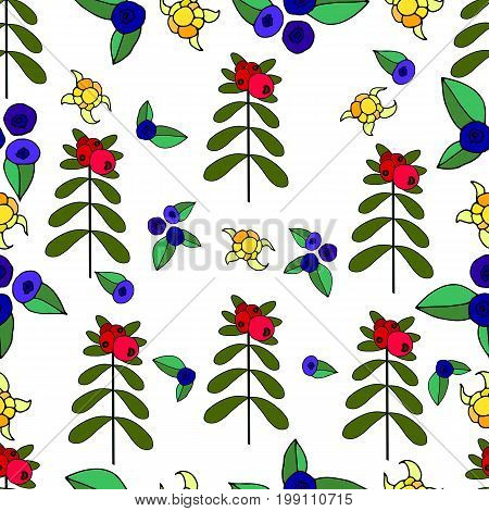 Berries, lingonberry, blueberry, cloudberry juicy forest seamless pattern.Vector hand drawn color illustration. Colored page for adults and children. Design, book, textile, print, posterfabric