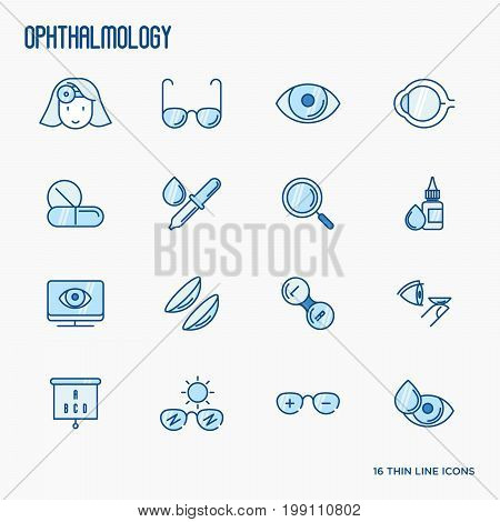 Ophthalmology and vision care thin line icons. Vector illustration for banner, web page, print media.