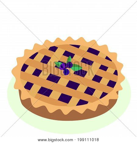 Comic style hot, freshly baked blueberry, fruit pie, cartoon vector illustration, isolated on white background. Traditional berry, fruit pie, a symbol of Thanksgiving.
